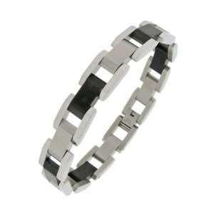 Mens Stainless Steel Black Ion Plating Bracelet, 8.25 Jewelry