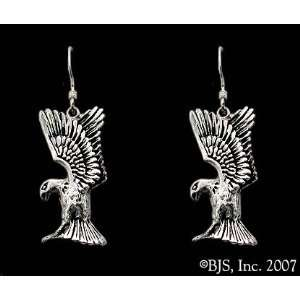 White Gold, 14k. White Gold Ear Wires, Eagle Animal Jewelry, 14 k gold