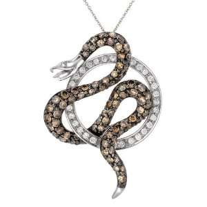 Gold White Diamond Snake Pendant Necklace, 18 (1.27 cttw) Jewelry