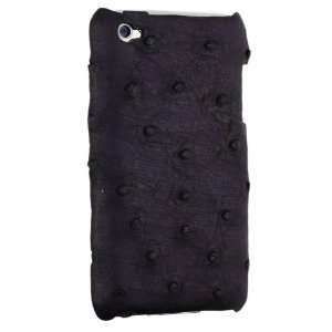 iPod Touch 4g Genuine Ostrich Leather Snap On Case, Purple