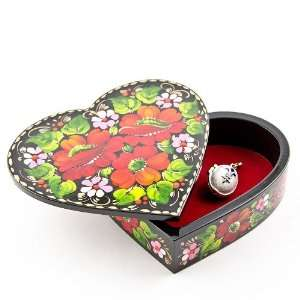 Heart Shaped Wooden Jewelry Box, Jewelry Boxes, Hand Painted