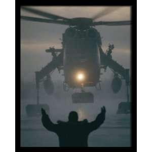 , Helicopter Landing, 8 x 10 Poster Print, Framed