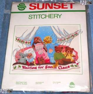 Sunset WAITING FOR SANTA Crewel Stitchery Christmas Kit