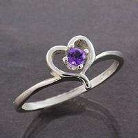 African Amethyst Solid Sterling Silver Heart Ring (Ring Sizes 4   11