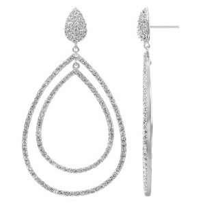 Olivas Fancy Double Pear Drop CZ Cubic Zirconia Dangle Earrings