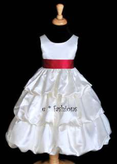 IVORY APPLE RED PARTY FLOWER GIRL DRESS 2 4 6 8 10 838B