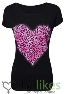 Coloured Animal Leopard Heart Print Top Ladies Printed T Shirt