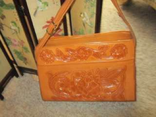 70s MEXICAN hand TOOLED LEATHER Boho HIPPIE BAG  PURSE amazing