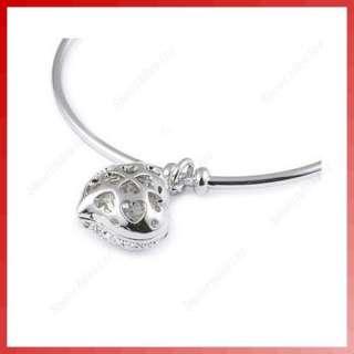 Fashion Exquisite Rhinestone Peach Heart Pendant Adjustable Bangle