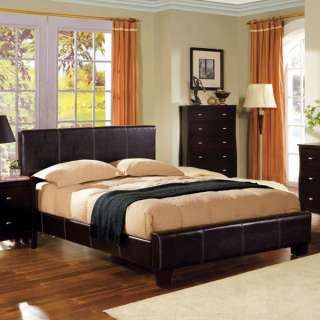 Espresso Finish Leatherette Platform Bed Frame Set