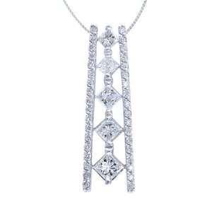 81 Carat (Ctw) Diamond Journey Pendant 14K White Gold Setting Jewelry