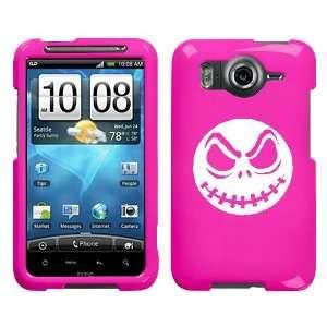 HTC INSPIRE 4G WHITE JACK SKELLINGTON ON A PINK HARD CASE