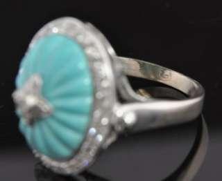 Estate Vtg 14K White Gold Carved Turquoise Diamond Ring