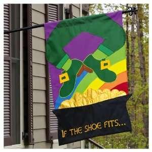 St Patricks Day Leprechaun Applique Flag   Banner Patio