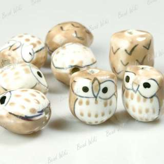 10 Yellow Animal Owl Charm Ceramic Porcelain Bead PB010