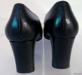 Navy Blue Chunky Heel Leather Pump Shoes 9M GREAT STYLE