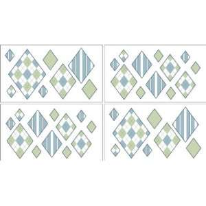 Blue and Green Argyle Baby and Kids Wall Decal Stickers
