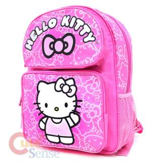 Hello Kitty Large School Backpack Bag Pink Giltering Face 2