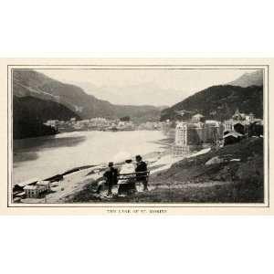 1910 Print Lake St Moritz Switzerland Costume Fashion Parasol