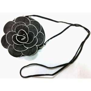 Designer Raised Flower Purse Round shaped Pouch Bag Wristlet Rose