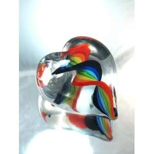 Murano Hand Blow Glassrainbow Twist Heart Glass Paperweight