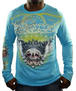 CHRISTIAN AUDIGIER Ed Hardy Mens Platinum Skull Wing Long Sleeve Shirt