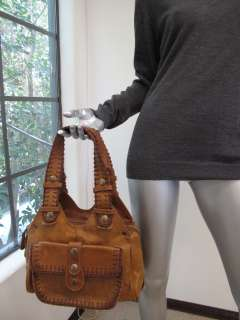 Chloe Tan Leather/Fabric Woven Stitched Trim Large Pocket Bag