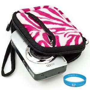 Glove Camera Carrying Case with Pink Zebra Fur Exterior for All