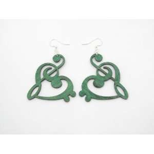 Kelly Green Treble and Bass Clef Heart Wooden Earrings