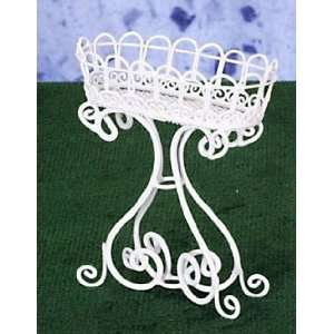 Dollhouse Miniature White Wire Oval Planter: Everything