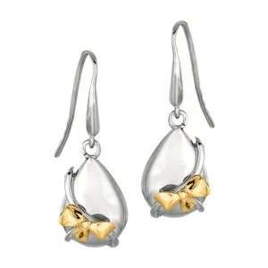 Sterling Silver and Gold Bow Earrings Italy Jewelry