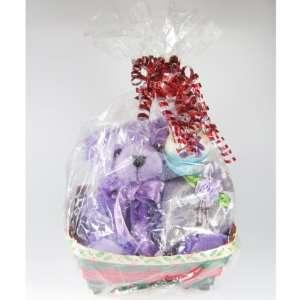 Gift Basket  Purple Stacy Teddy Bear & Heart Shaped Lavender Satchel