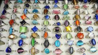 Wholesale jewelry lots 30pcs Cat  Eye stone silver plated Ring NEW