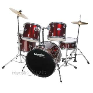 NEW 5 PIECE WINE RED FULL SIZE DRUM SET CYMBAL & THRONE