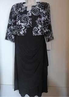 Evenings new black sequin sheath bolero dress womens 14W 14 W