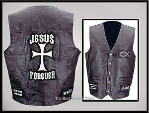 Mens Black Leather Christian Cross Motorcycle Vest Religious sizes M L