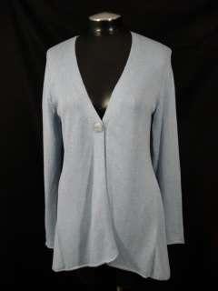 Jill M Light Blue V Neck One Button Cardigan Sweater Knit Top Cotton