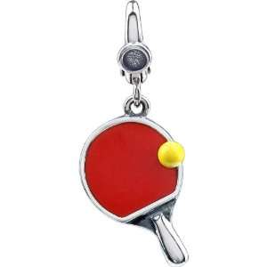 Locker Sterling Silver Enamel Ping Pong Paddle and Ball Charm Jewelry