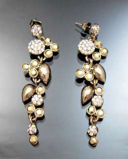 Vintage Gold Metalic Crystal Linear Chandelier Earrings