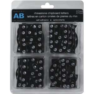 Rhinestone Chipboard Letter Stickers: Black: Electronics