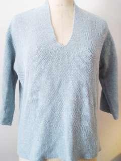 Eileen Fisher Blue Tweed Wool, Silk & Nylon Vee Neck Sweater   Extra