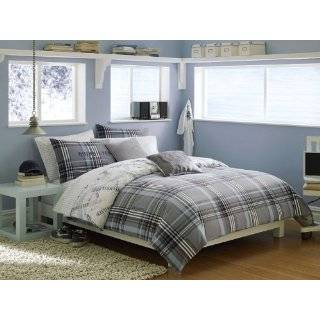 Gray, Blue & Green Boys Striped Queen Comforter Set (8 Piece Bed In A