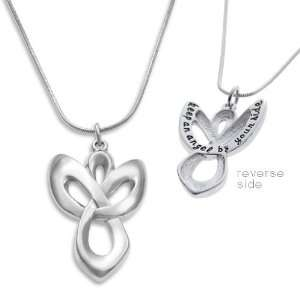 Alexas Angels Guardian Angel Charm Necklace Silver Tone with Message