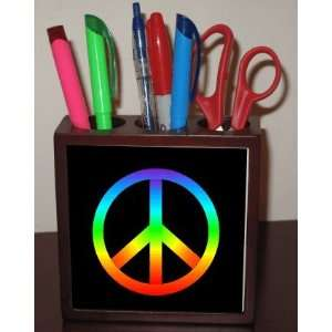 Rikki KnightTM Rainbow Peace Sign on Black 5 Inch Tile Maple Finished