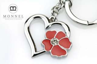 Z150 Cute Red Rose Heart Silver Tone Keychain