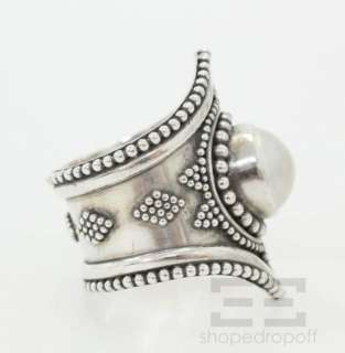 Designer Sterling Silver & White Pearl Ring Size 10