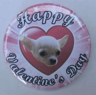 pink heart Valentine BUTTON badge SH CHIHUAHUA DOG pin