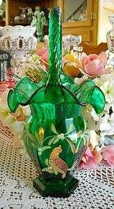FENTON EMERALD GREEN GLASS BASKET
