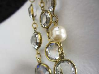 Authentic CHANEL Sautoirs Clear Crystal & Pearl Necklace