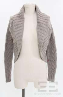 Grey Alpaca, Wool & Cashmere Cable Knit Shrug Sweater Size Extra Small